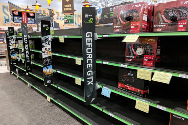 Perhaps the surplus of Nvidia GPUs will mean no more empty shelves for gamers.
