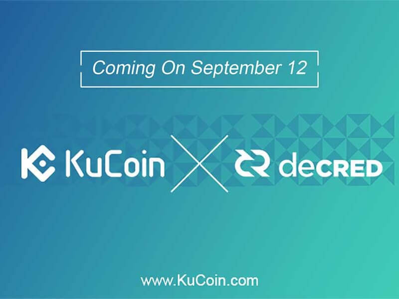 Decred's DCR Gets Listed at KuCoin Cryptocurrency Exchange Market