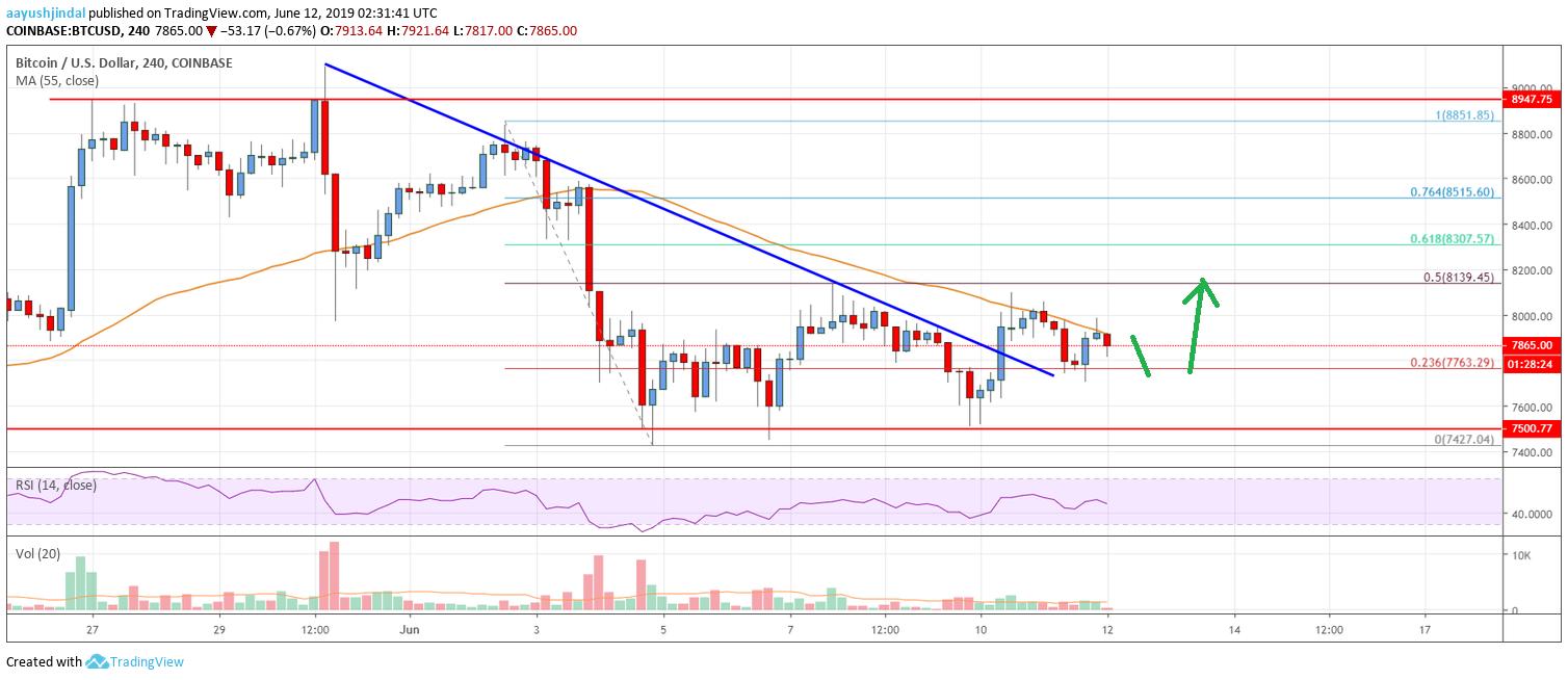Bitcoin Price Analysis: BTC Facing Uphill Task Near $8,000