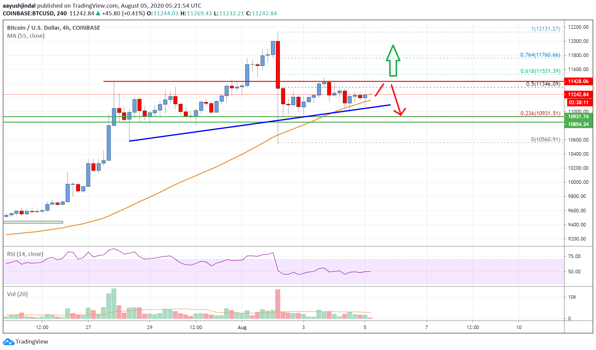 Bitcoin Price Analysis: BTC Must Stay Above $11,000 For Fresh Rally