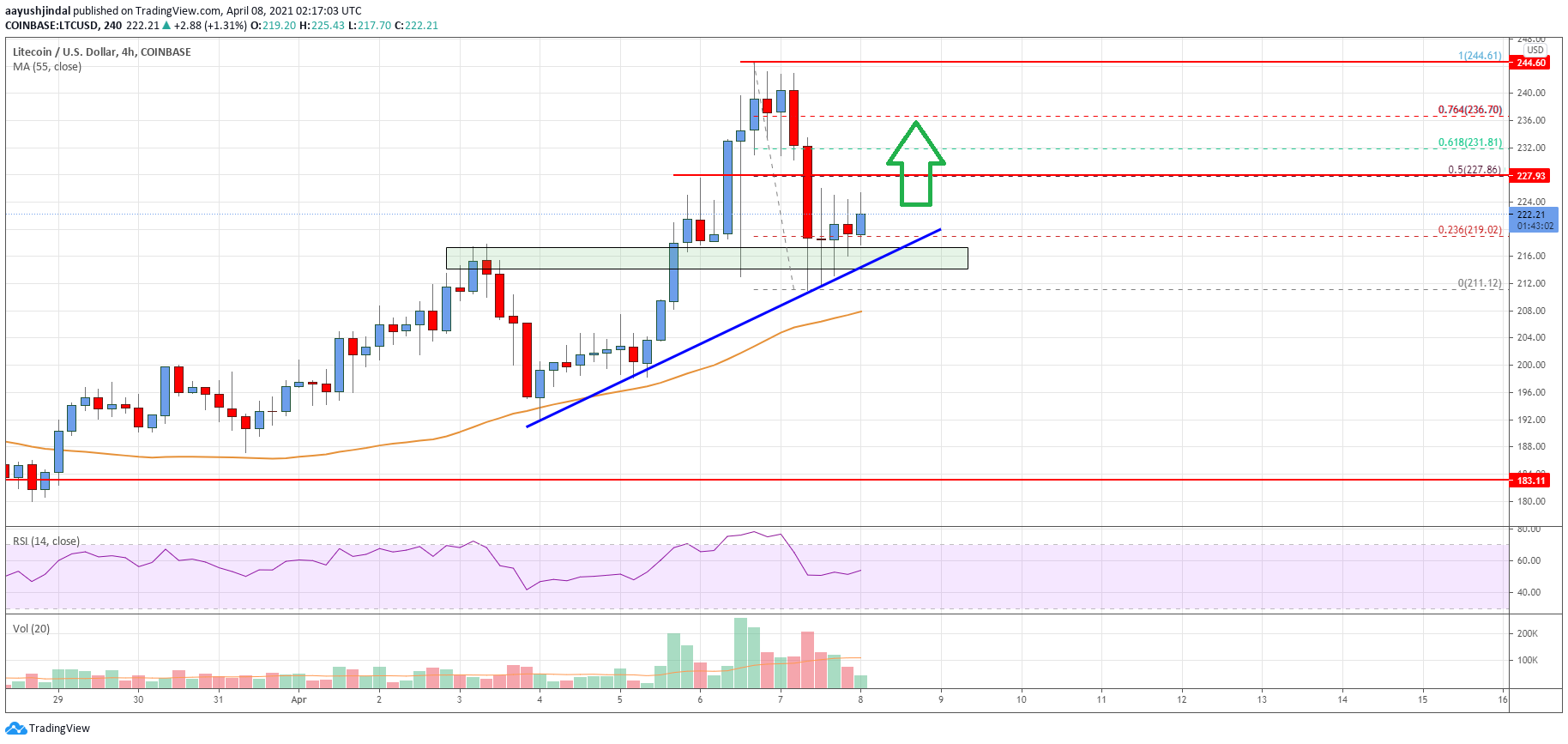 Litecoin (LTC) Price Analysis: Holds Key Support Near $210